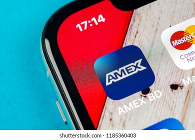 Sankt-Petersburg, September 19, 2018: Amex application icon on Apple iPhone X smartphone screen close-up. Amex app icon. American express is an online electronic finance payment system.