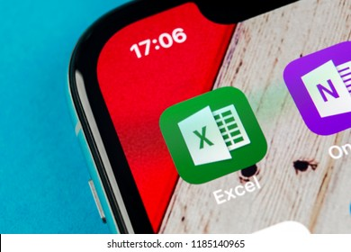Sankt-Petersburg, September 19, 2018: Microsoft Exel application icon on Apple iPhone X screen close-up. Microsoft office Exel app icon. Microsoft office on mobile phone. Social media