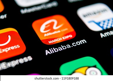 Sankt-Petersburg, September 30, 2018: Alibaba application icon on Apple iPhone X smartphone screen close-up. Alibaba app icon. Alibaba.com is popular e-commerce application. Social media icon