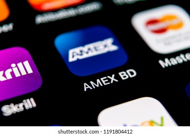 Sankt-Petersburg, September 30, 2018: Amex application icon on Apple iPhone X smartphone screen close-up. Amex app icon. American express is an online electronic finance payment system.