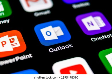 Sankt-Petersburg, September 30, 2018: Microsoft Outlook office application icon on Apple iPhone X screen close-up. Microsoft outlook app icon. Microsoft OutLook application. Social media network