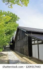 Sankyo warehouse and zelkova trees in Sakata, Yamagata, Japan