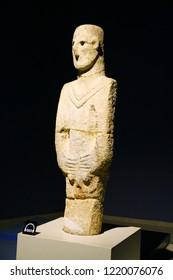 SANLIURFA MUSEUM, SANLIURFA, TURKEY - 20 October 2018. The oldest human-size statue found around Balikligol in Sanliurfa. It is in Sanliurfa Archaeological Museum now.