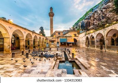 Sanliurfa, Turkey - March 05, 2019 : Dergah and Mevlid-i Halil Mosque view in Sanliurfa City of Turkey