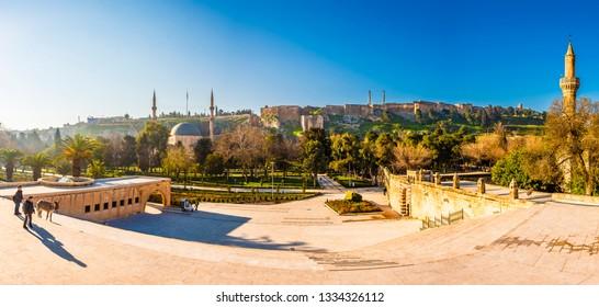 Sanliurfa, Turkey - March 05, 2019 : Sanliurfa Castle view in Sanliurfa City of Turkey