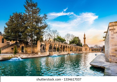 Sanliurfa, Turkey - March 05, 2019 : Balikligol ( Fish Lake ) sunset view in Sanliurfa City of Turkey.