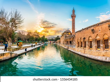 Sanliurfa, Turkey - March 05, 2019 : Balikligol ( Fish Lake ) sunset view in Sanliurfa City of Turkey.