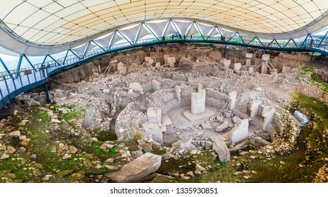 Sanliurfa, Turkey - March 07, 2019 : Gobeklitepe ruins panoramic view in Sanliurfa Province of Turkey.