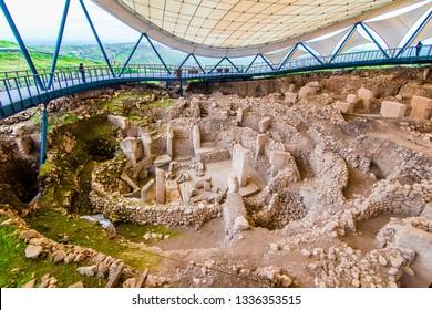 Sanliurfa, Turkey - March 07, 2019 : Gobeklitepe ruins view in Sanliurfa Province of Turkey.