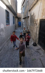 Sanliurfa, Turkey - March 2020: Eyyubiler region.  Ataturk District.  Syrian refugees are trying to adapt to life in Urfa.