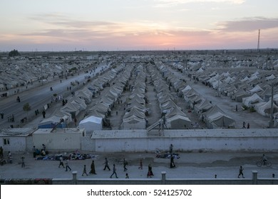 Sanliurfa Turkey September 23,2015 Aerial view of Akcakale Refugee Camp. Approximately 28.000 Syrian people reside in Akcakale Tent Camp in Urfa.