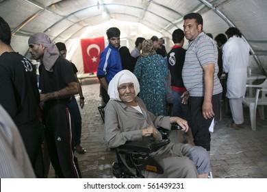 Sanliurfa Turkey September 23,2015 Old man in  Akcakale Refugee Camp. Approximately 28.000 Syrian people reside in Akcakale Tent Camp in Urfa.