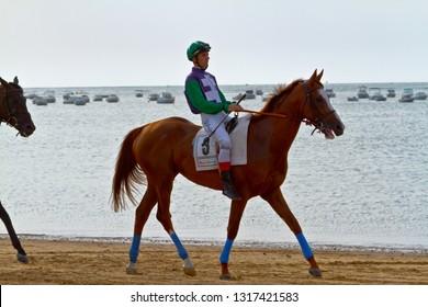 SANLUCAR DE BARRAMEDA, CADIZ, SPAIN - AUGUST 11: Unidentified rider at the start of race horses on Sanlucar de Barrameda beach on August 11, 2011 in Sanlucar de Barrameda, Cadiz, Spain.