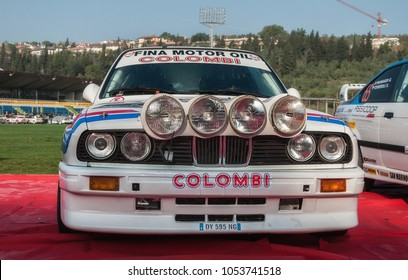 SANMARINO, SANMARINO - OTT 21, 2017 : BMW M3 E30 1988 in old racing car rally THE LEGEND 2017 the famous SAN MARINO historical race