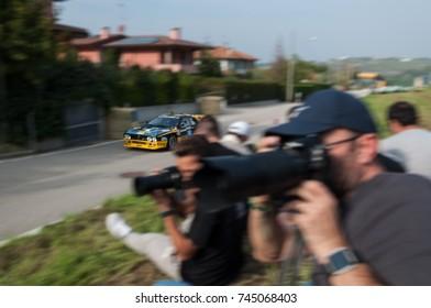 SANMARINO, SANMARINO - OTT 21, 2017 : LANCIA 037 in old racing car rally THE LEGEND 2017 the famous SAN MARINO historical race