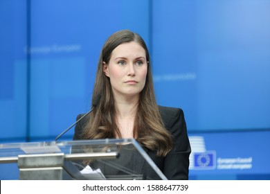 Sanna Marin, Finnish Prime Minister during a press conference after the European Council EU Leaders Summit meeting. Finland and the PM hold the EU Presidency. Brussels, Belgium - December 13, 2019