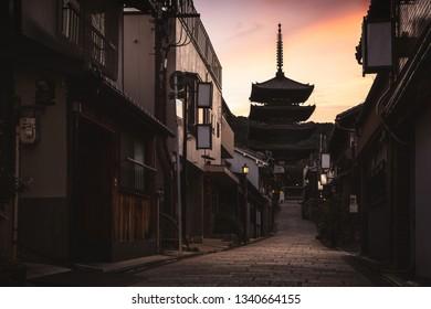 Sannen Zaka Street with Yasaka Pagoda in background, Kyoto, Japan, Kyoto, Japan