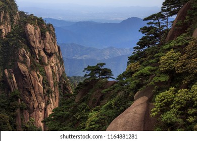 Sanqingshan, Mount Sanqing National Park - Jiangxi Province China. National Geopark and Sacred Taoist Mountain, UNESCO World Heritage. Exotic Pine Trees, Yellow Granite Mountains, similar to Huangshan