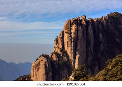 Sanqingshan, Mount Sanqing National Park - Jiangxi Province China. National Geopark and Sacred Taoist Mountain, UNESCO World Heritage. Exotic Pine Trees, Yellow Granite Fingers, similar to Huangshan