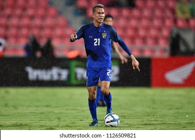 Sanrawat Dechmitr No.21 of Thailand in action during 2018The International Friendly Match between Thailand and China at the Rajamangala Stadium on June 2, 2018 in Bangkok,Thailand,