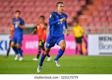 Sanrawat Dechmitr no.29 (blue) of Thailand in action during The AFF Suzuki Cup 2018 between Timor-Leste and Thailand at Rajamangala Stadium on November 9, 2018 in Bangkok,Thailand.