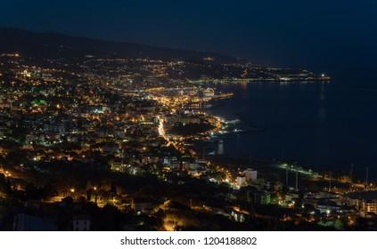 Sanremo by night. Liguria region of Italy
