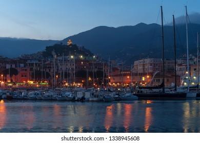 Sanremo by night. Liguria region, Italy