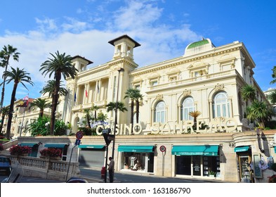 SANREMO, IMPERIA, ITALY OCTOBER 26: The Municipal Casino of the city of Sanremo is an Art Nouveau building - Sanremo, Imperia, Italy on Oct 26, 2013