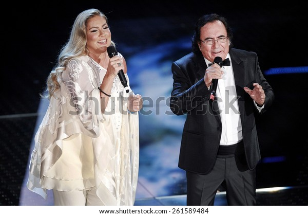 SANREMO, ITALY - FEBRUARY 10: Al Bano and Romina Power guests on the stage of the 65th Sanremo Song Festival at the Ariston Theatre on February 10, 2015 in Sanremo, Italy.