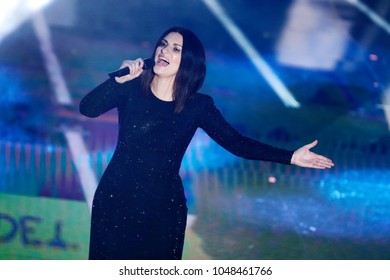 SANREMO, ITALY, FEBRUARY 10: Singer Laura Pausini performs on the stage of the 68th Sanremo Song Festival on February 10, 2018, in Sanremo, Italy.