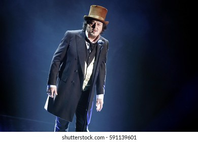 SANREMO, ITALY, February 11: Singer Zucchero performs during the 67th Sanremo Song Festival on February 11, 2017, in Sanremo, Italy.