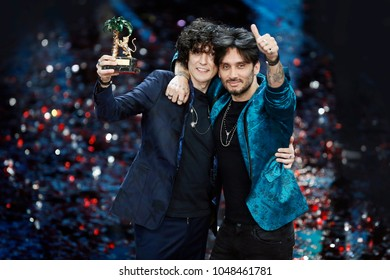 SANREMO, ITALY, FEBRUARY 11: Singers Ermal Meta and Fabrizio Moro are the winners of the 68th Sanremo Song Festival on February 11, 2018, in Sanremo, Italy.