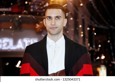 SANREMO, ITALY, February 4, 2019: Singer Mahmood attends the opening red carpet during the 69th Italian Song Festival at Ariston theatre in Sanremo, Italy.