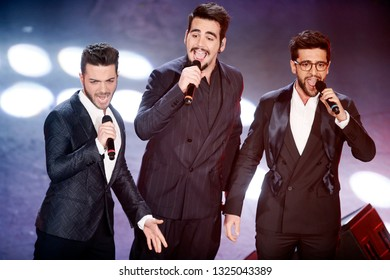 SANREMO, ITALY, February 5, 2019: Singers Il Volo perform during the 69th Italian Song Festival at Ariston theatre in Sanremo, Italy.