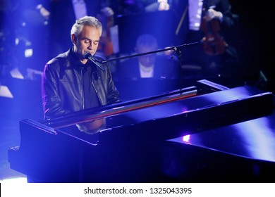 SANREMO, ITALY, February 5, 2019: Singer Andrea Bocelli performs during the 69th Italian Song Festival at Ariston theatre in Sanremo, Italy.