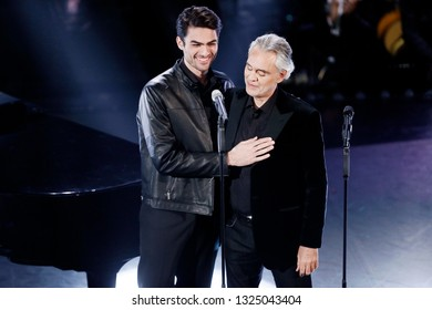 SANREMO, ITALY, February 5, 2019: Singers Matteo Bocelli and Andrea Bocelli perform during the 69th Italian Song Festival at Ariston theatre in Sanremo, Italy.