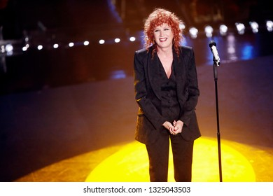 SANREMO, ITALY, February 6, 2019: Singer Fiorella Mannoia performs during the 69th Italian Song Festival at Ariston theatre in Sanremo, Italy.