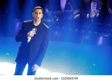 SANREMO, ITALY, February 7, 2019: Singer Mahmood performs  during the 69th Italian Song Festival at Ariston theatre in Sanremo, Italy.