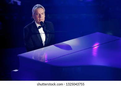 SANREMO, ITALY, February 7, 2019: Singer Claudio Baglioni performs  during the 69th Italian Song Festival at Ariston theatre in Sanremo, Italy.