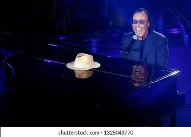 SANREMO, ITALY, February 7, 2019: Singer Antonello Venditti performs  during the 69th Italian Song Festival at Ariston theatre in Sanremo, Italy.