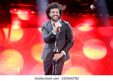 SANREMO, ITALY, February 7, 2019: Singer Francesco Renga performs  during the 69th Italian Song Festival at Ariston theatre in Sanremo, Italy.