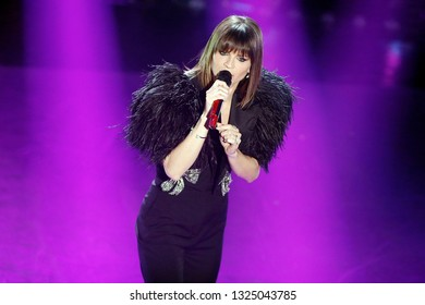 SANREMO, ITALY, February 7, 2019: Singer Alessandra Amoroso performs  during the 69th Italian Song Festival at Ariston theatre in Sanremo, Italy.