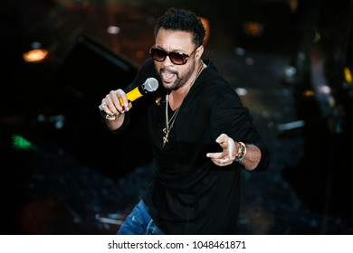 SANREMO, ITALY, FEBRUARY 7: Singer Shaggy performs on the stage of  the 68th Sanremo Song Festival on February 7, 2018, in Sanremo, Italy.