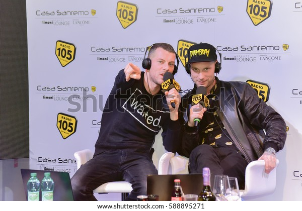 Sanremo italy, February 8, 2017: Radio 105  interview Clementino to Mango Lounge room Casa Sanremo Palafiori,during the festival of Italian song