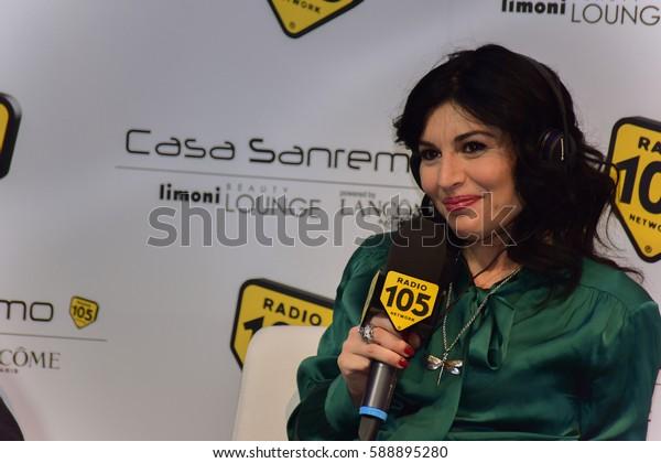 Sanremo italy, February 8, 2017: Radio 105  interview Giusy Ferreri to Mango Lounge room Casa Sanremo Palafiori,during the festival of Italian song
