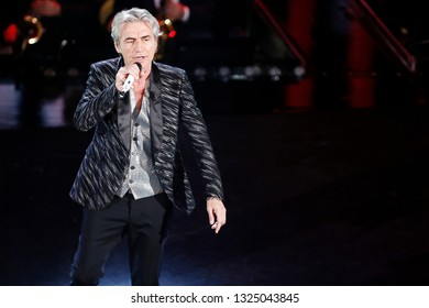 SANREMO, ITALY, February 8, 2019: Singer Luciano Ligabue performs during the 69th Italian Song Festival at Ariston theatre in Sanremo, Italy.
