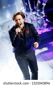 SANREMO, ITALY, February 8, 2019: Singer Jack Savoretti performs during the 69th Italian Song Festival at Ariston theatre in Sanremo, Italy.