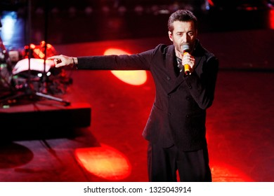 SANREMO, ITALY, February 8, 2019: Singer Daniele Silvestri performs during the 69th Italian Song Festival at Ariston theatre in Sanremo, Italy.