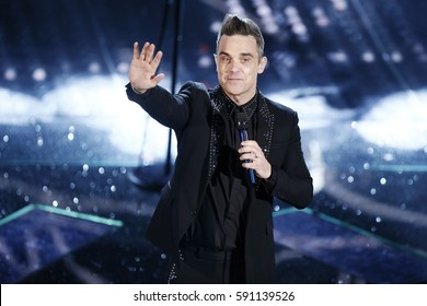 SANREMO, ITALY, February 8: Singer Robbie Williams performs during the 67th Sanremo Song Festival on February 8, 2017, in Sanremo, Italy.