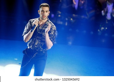 SANREMO, ITALY, February 9, 2019: Singer Mahmood performs during the 69th Italian Song Festival at Ariston theatre in Sanremo, Italy.
